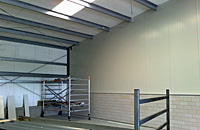 Fire retardant partition walls inner facades storage warehouse