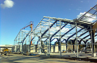Steel structures construction metal supporting beams rafters building